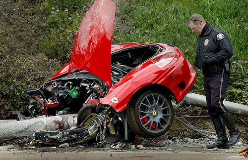 Fatal Ferrari crash splits car in two